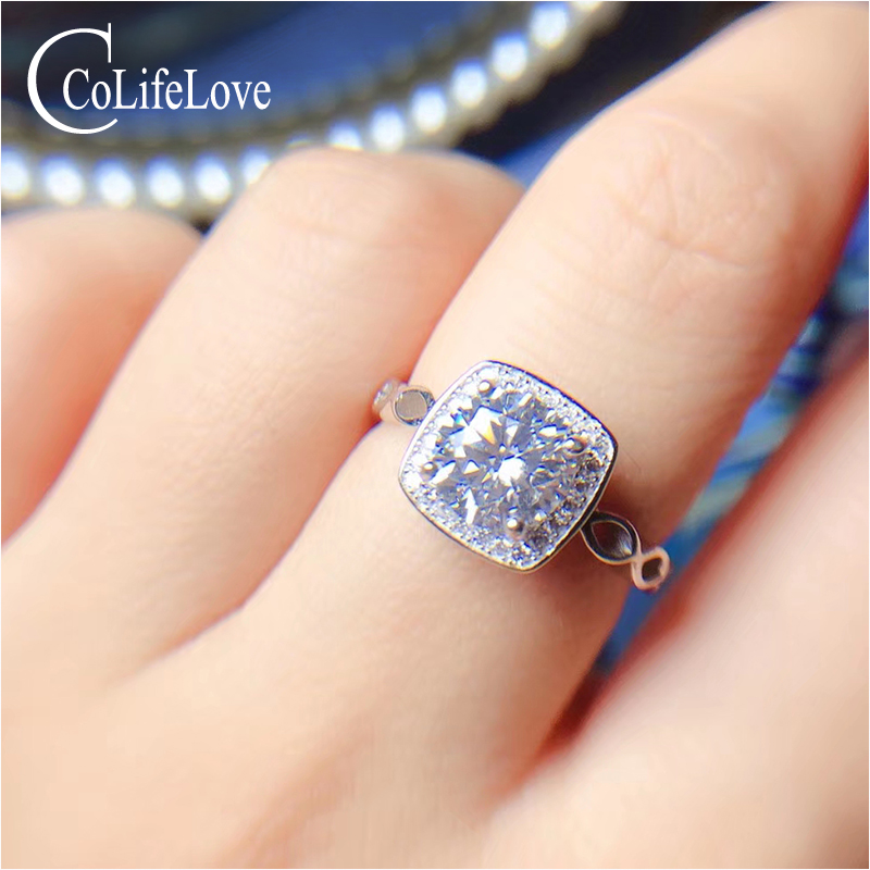 CoLife Jewelry 925 Silver Moissanite Ring for Engagement 1ct D Color VVS1 Grade Moissanite Silver Ring Gift for GirlfirendCoLife Jewelry 925 Silver Moissanite Ring for Engagement 1ct D Color VVS1 Grade Moissanite Silver Ring Gift for Girlfirend