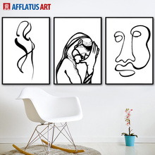 AFFLATUS Black And White Line Girl Painting Nordic Poster Wall Art Print Canvas Pictures For Living Room Decor