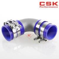 50mm 2 Cast Aluminum 90 Degree Elbow Pipe Turbo Intercooler+ silicone hose kit blue