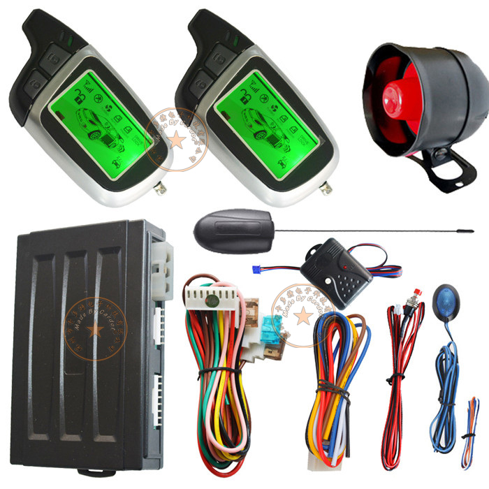 remote engine ignition start auto two way car alarm system with auto window rolling up negative output remote open trunk
