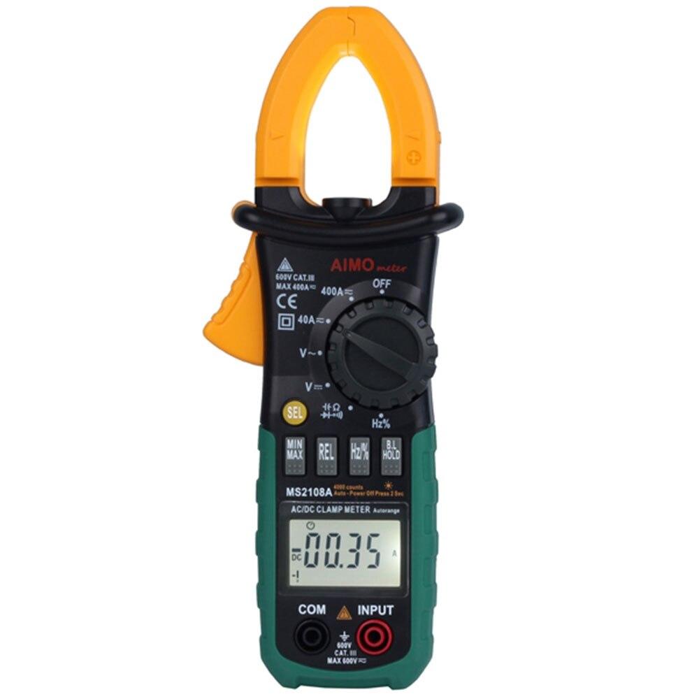 Más nuevo multímetro digital medidor de abrazadera Amper MS2108A pinzas de abrazadera de corriente AC/DC probador de resistencia de condensador de voltaje