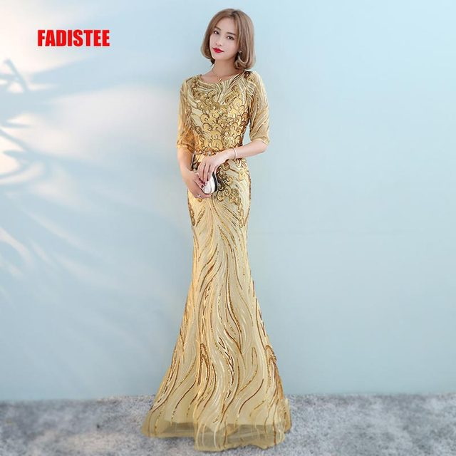 FADISTEE New arrival modern party dress evening dresses prom bling sequins  mermaid gold sashes scoop neck long half sleeves cee2067cfb8c