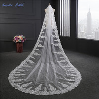 Sapphire Bridal 3M White Ivory Cathedral Veils Long Lace Edge Bridal Veil with Comb Wedding Accessories Bride Mantilla Veils