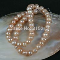 wb 00175 Fresh Water Pearl Bead Strand Lustrous Chinese Farmed 8mm Mauve Baroque Nugget