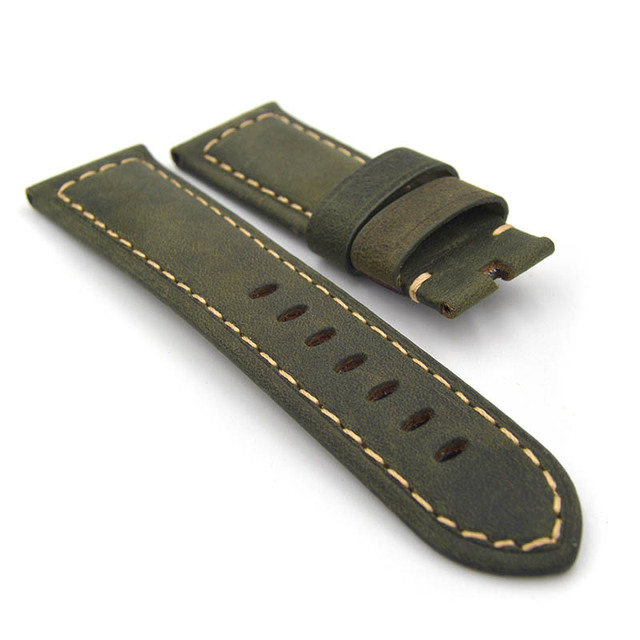 22mm 24mm Calf Skin Genuine Leather Watch Band no clasp For Panerai Watch Green Yellow Brown Blue  Men Strap Free Shipping