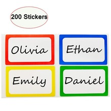 200pcs Colorful Name Tag Stickers, 3*2