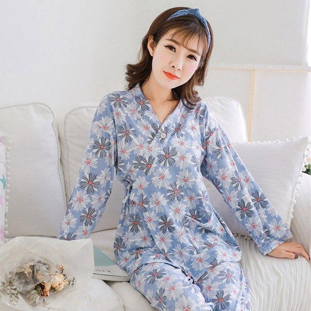 463917491e Winter Pajamas Women Kimono Style Womens Pajama Set Sleep Jacket Pant  Printed Tops Loose Pants Long