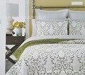 Estilo natural Puro algodón bordado 3 unids 1 * colcha 2 * fundas de almohada serie de Plantas
