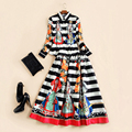 Fashion Vintage Twinsets 2017 Autumn New Long Sleeve Turtleneck Character Tops + Kneel-Length Striped Dress