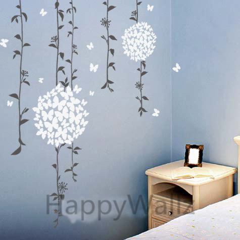Flowers Butterfly Wall Sticker Butterfly Flower Wall Decal DIY Decorating  Modern Floral Wines Wall Decors F3 Part 88