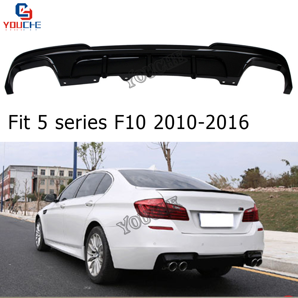 5 Series F10 Rear Bumper Lip Diffuser for BMW F10 MP Style Sports Sedan 2010 2016 ABS 2 out let Diffuser