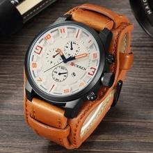 Men's Casual Sport Quartz Watch Mens Watches Top Brand Luxury Quartz Watch Leather Military Watch Wrist Male Clock