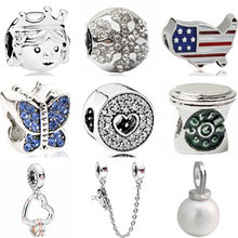 Silver Color European Butterfly Cross Map Hearts Simulated Pearl Charms Beads Fit Pandora Bracelets & Bangles for Women Punk DIY(China)