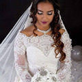 2016 Luxury Off the Shoulder Appliqued Beaded Pearls Fully Long Sleeve Chapel Train Wedding Dresses