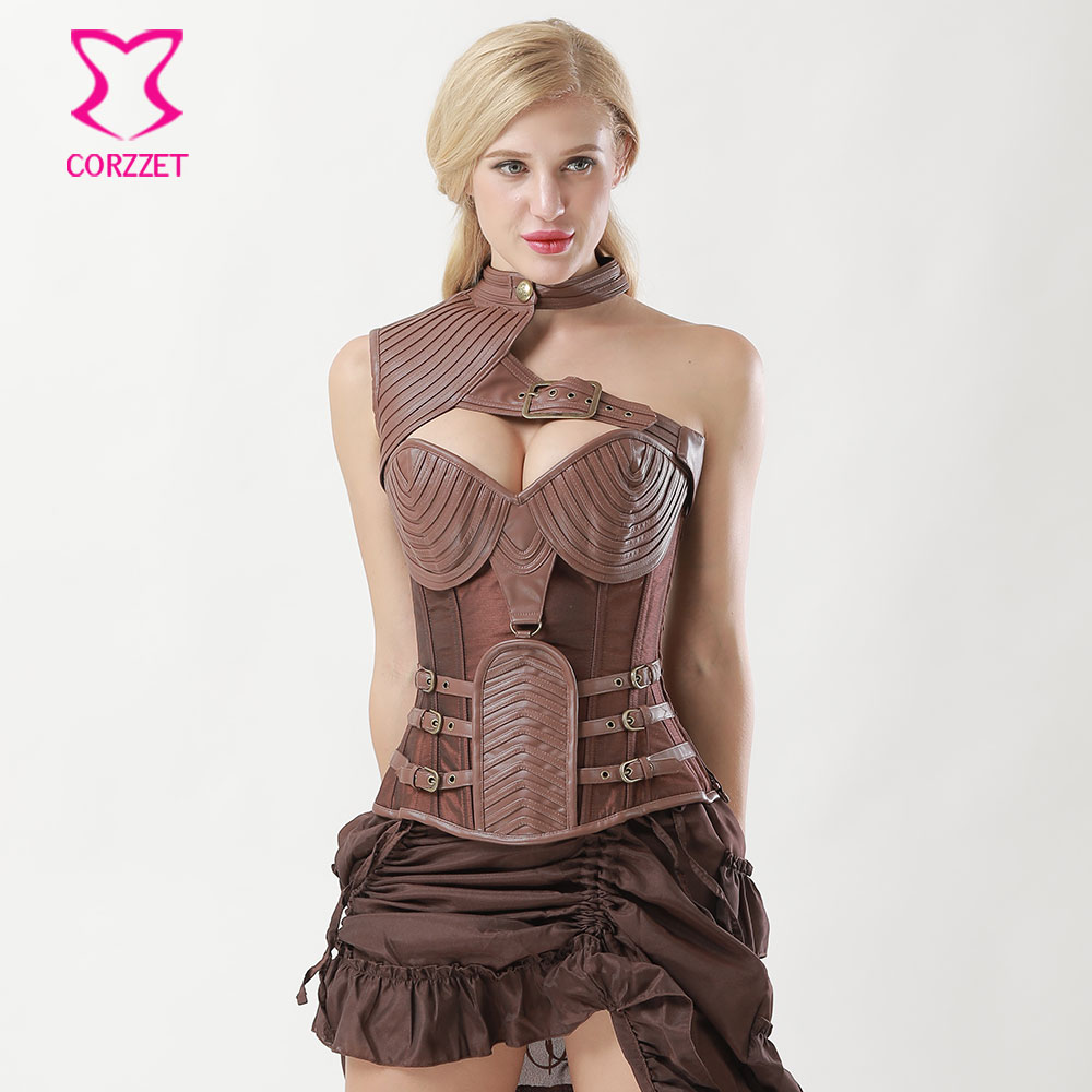 6XL Brown Leather Armor Steampunk Corset Steel Bone Plus Size Corsets And Bustiers Vintage Gothic Clothing