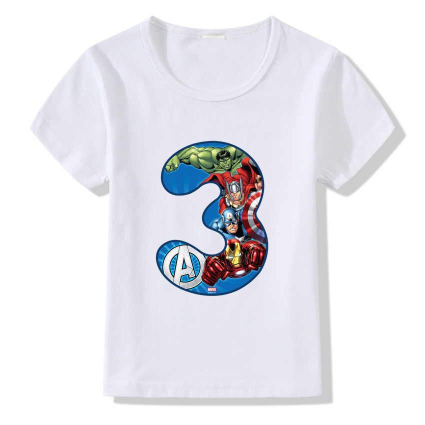 หมายเลข 1-9 พิมพ์การ์ตูน T เสื้อเด็กเด็กชายฤดูร้อนเด็กเสื้อยืดตลกวันเกิดเด็ก Tshirt CT-1957