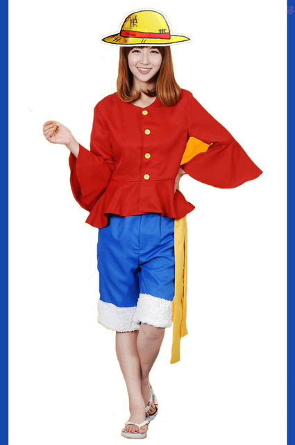 anime one piece monkey d luffy cosplay costume full set uniform for adult halloween costumes. Black Bedroom Furniture Sets. Home Design Ideas