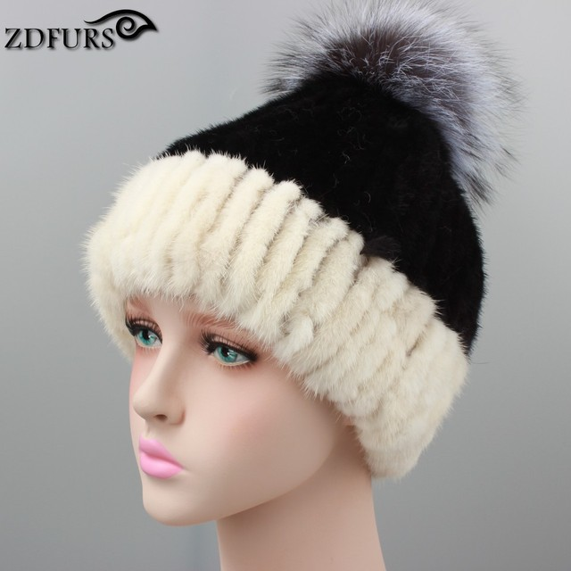 ZDFURS * women winter knitted mink fur beanies cap with fox fur pom brand new thick female cap real mink fur hat   ZDH-161016-1
