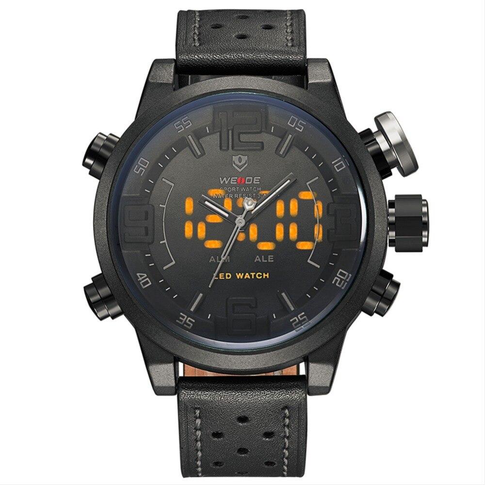 Top luxury weide brand men s sports watch multi function alarm LED watch 3ATM waterproof quartz