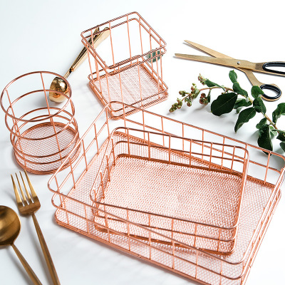 Makeup Organizer Box Basket Brush-Set Storage-Cup Dressing-Table Iron-Art Rose-Gold Nordic