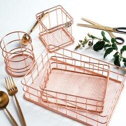 Ouro rosa arte do ferro nórdico organizador de maquiagem cesta delineador escova conjunto armazenamento copo penteadeira maquiagem cosméticos organizador caixa