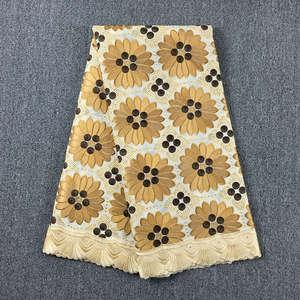 Image 3 - Originale ricamato Beige con Caffè svizzero del merletto del voile in Svizzera con pietre 048 5 metri 100% Abito di Pizzo di Cotone per partito