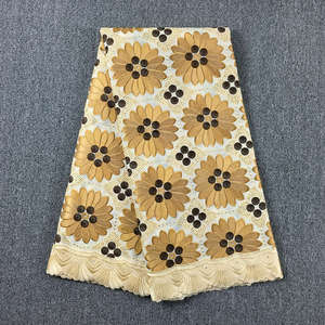 Image 3 - original embroidered  Beige with Coffee swiss voile lace in Switzerland with stones 048 5yards 100% Cotton Lace Dress for party