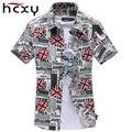 Новый Европейский и Американский мода лето личность печать с коротким рукавом мужская рубашка повседневная хлопок slim fit мужская общество рубашки