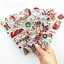 цены на 5Pcs Christmas 3D Bubble Sticker Cartoon Santa Claus Gift Merry Christmas Stickers New Year Xmas Sticky Decor For Home Party  в интернет-магазинах