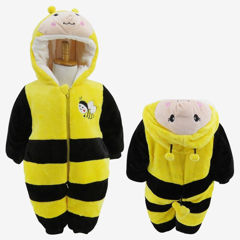 Autumn&Winter Thick Cute Baby Rompers Animal Bee Baby Boy&Girl Jumpsuit Children Clothes Newborn Hooded Long Sleeve Clothing