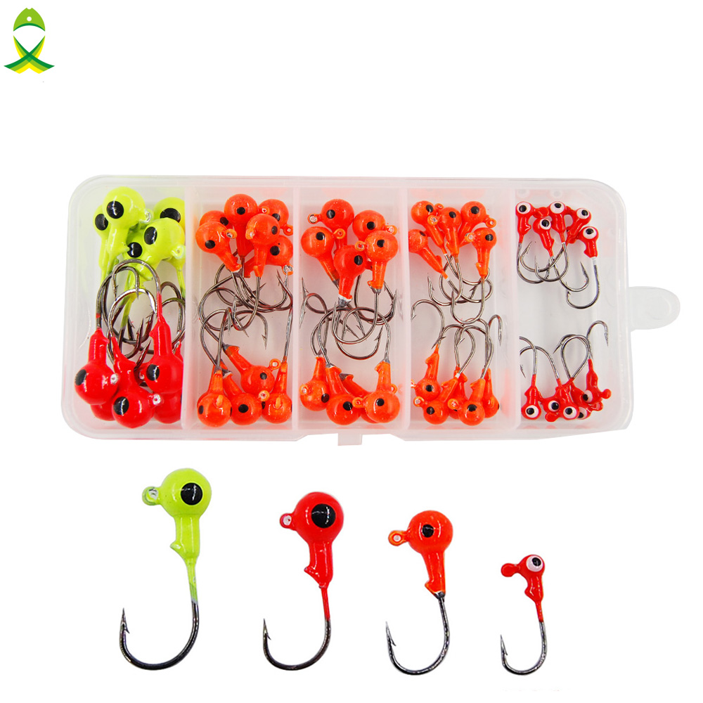 JSM 50pcs/box mixed 3D fish Eyes lead Head Fishing Hooks High Carbon Steel jigging Lures for ocean boat fishing equipment|steel jig|fishing hookhigh carbon steel - AliExpress