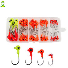 JSM 50pcs/box mixed 3D fish Eyes lead Head Fishing Hooks High Carbon Steel jigging Lures for ocean boat fishing equipment(China)