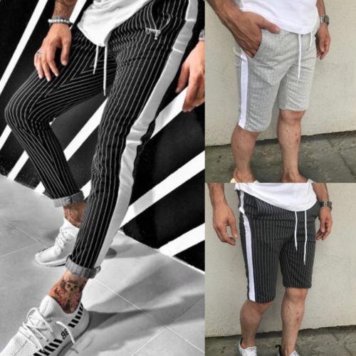 Men's Striped Jogger Pants Hip Hop Harem Casual Trousers Slim Pencil Pant 2019 Hot Sale