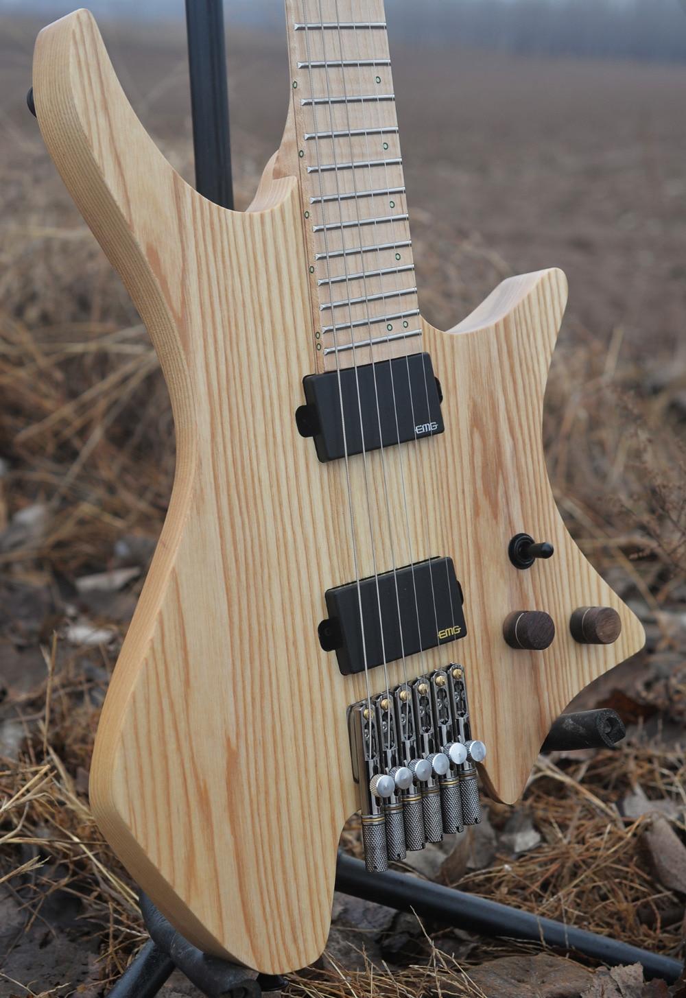 2018 Nouveau NK Sans Tête guitare Attisé Frette guitares Modèle Bois Clair Couleur Flamme manche érable Guitare livraison gratuite