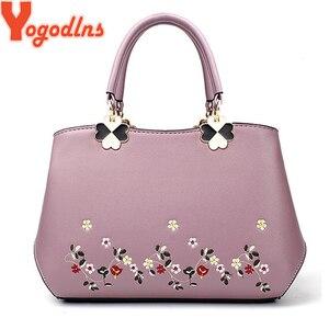 Image 2 - Yogodlns 2020 Fashion Handbags Women Messenger Bag Female PU Leather Shoulder Bag Womens Embroidery Flower Handbag sac a main