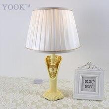 YOOK, смоляные настольные лампы в стиле принцессы для спальни, 220 В, E27, затемняющие настольные лампы, ручная работа, резная смоляная настольная лампа, внутреннее освещение