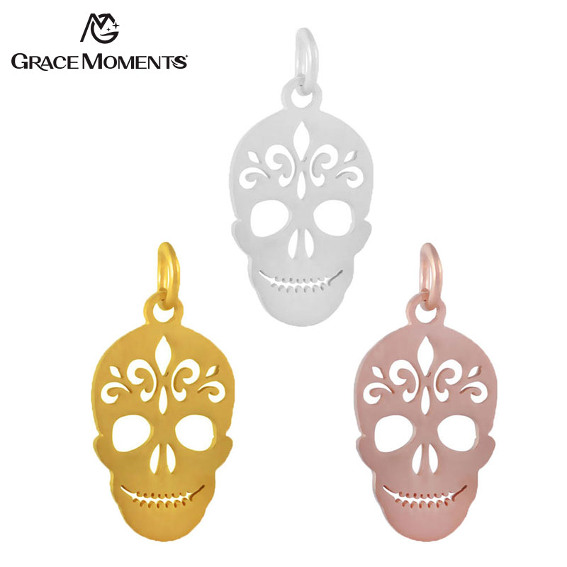 Grace Moments 10pcs/lot Full Polish 316L Stainless Steel Hollow Skull Head Charm with 5mm Split Ring Gold & Rose Gold 3 Colors