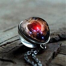 Universe Space Double-Sided Glass Ball Pendant Necklace Galaxy Nebula Photo Cabochon Handmade DIY Jewelry Statement Necklace