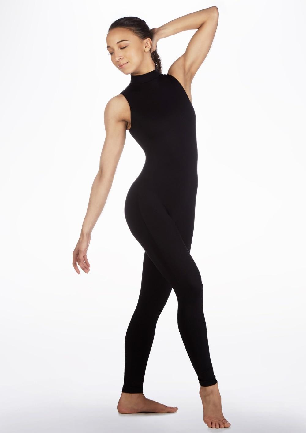 LZCMsoft Adult Sleeveless Turtleneck Unitards Lycra Nylon Keyhole Catsuits Women Spandex Dancewear Black Team Sports Outfits