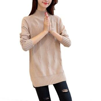 Split Turtleneck Sweater Women 2018 Winter Loose Long Sleeve Knit Jumper Women Pullovers and Sweaters Female Pull Femme CM851