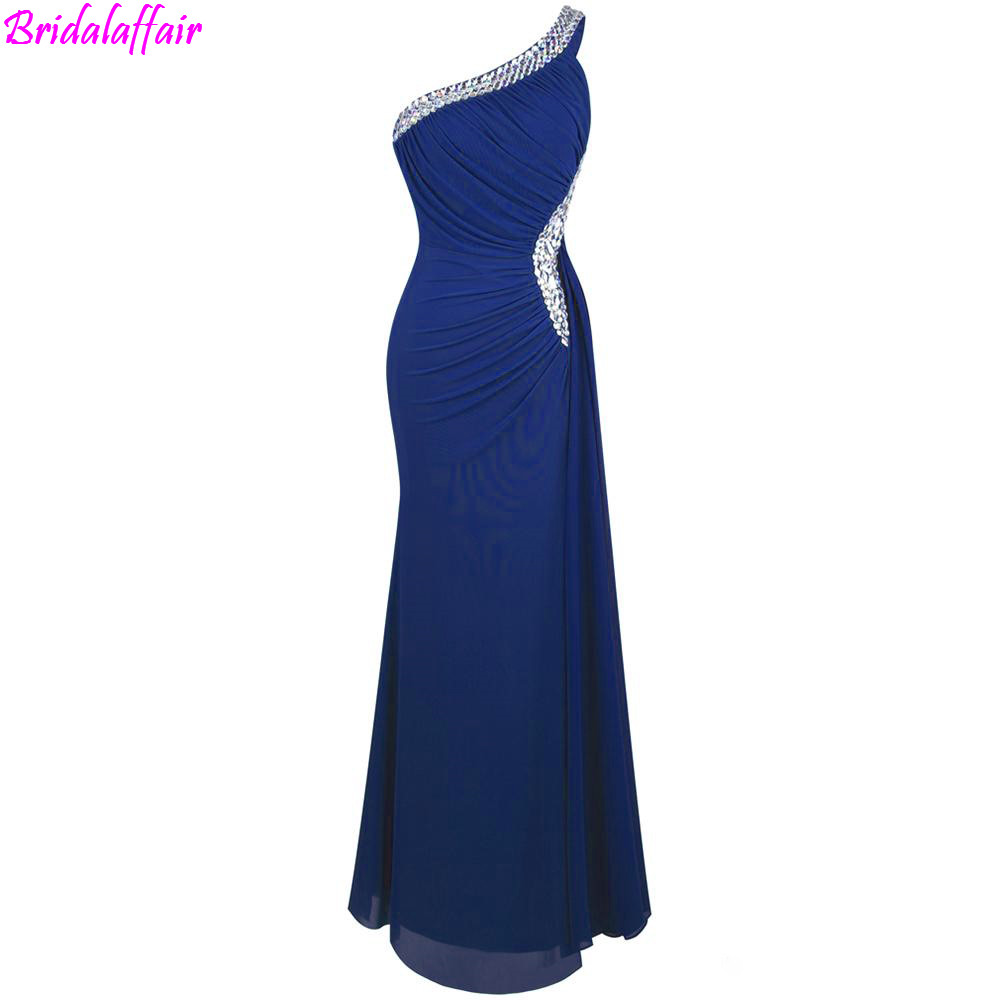 Women's Chiffon One Shoulder Evening   Dress   Ruching Beading Ribbon Long   Dress   Formal   Dress     Prom     Dresses   2019 vestidos de fiesta