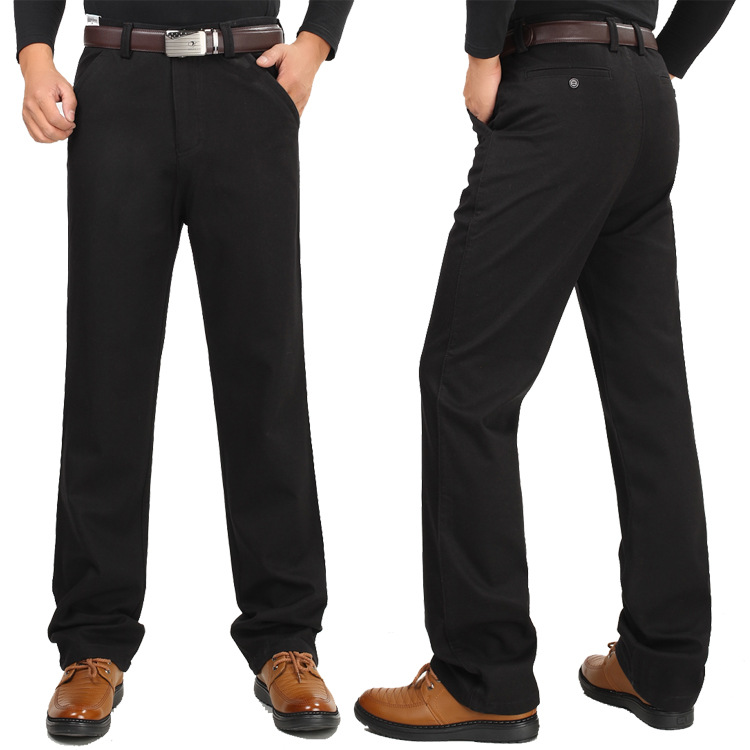 Image 4 - Winter thick men casual pants with velvet thicken high waist  comfortable middle aged mens cotton business straight long pants  -