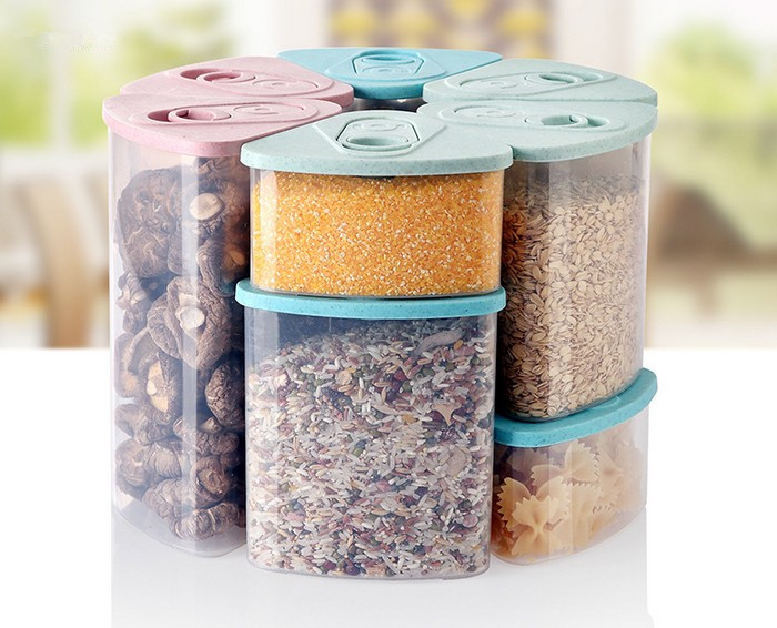 1PC Healty Thick Wheat Straw Storage Box Whole Grains Sealed Cans, Kitchen Covered Dry Cargo Container Storage Tank OK 0433