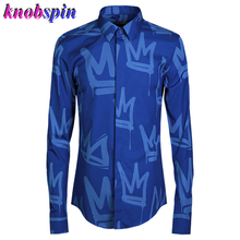 Plus size 3XL 4XL men Shirt 2019 Fashion Print Chemise homme long sleeve Slim Casual Camisa 80% Cotton Business male Dress shirt