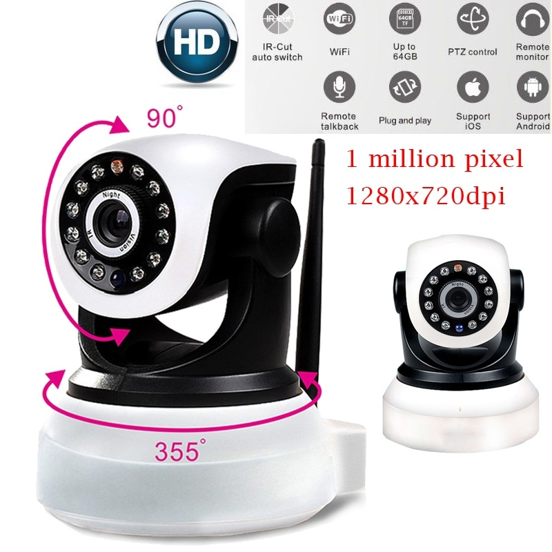 16GB Card+Ip wifi P2P wireless Camera securiy camera Home Security Indoor Phone HD Real- ...