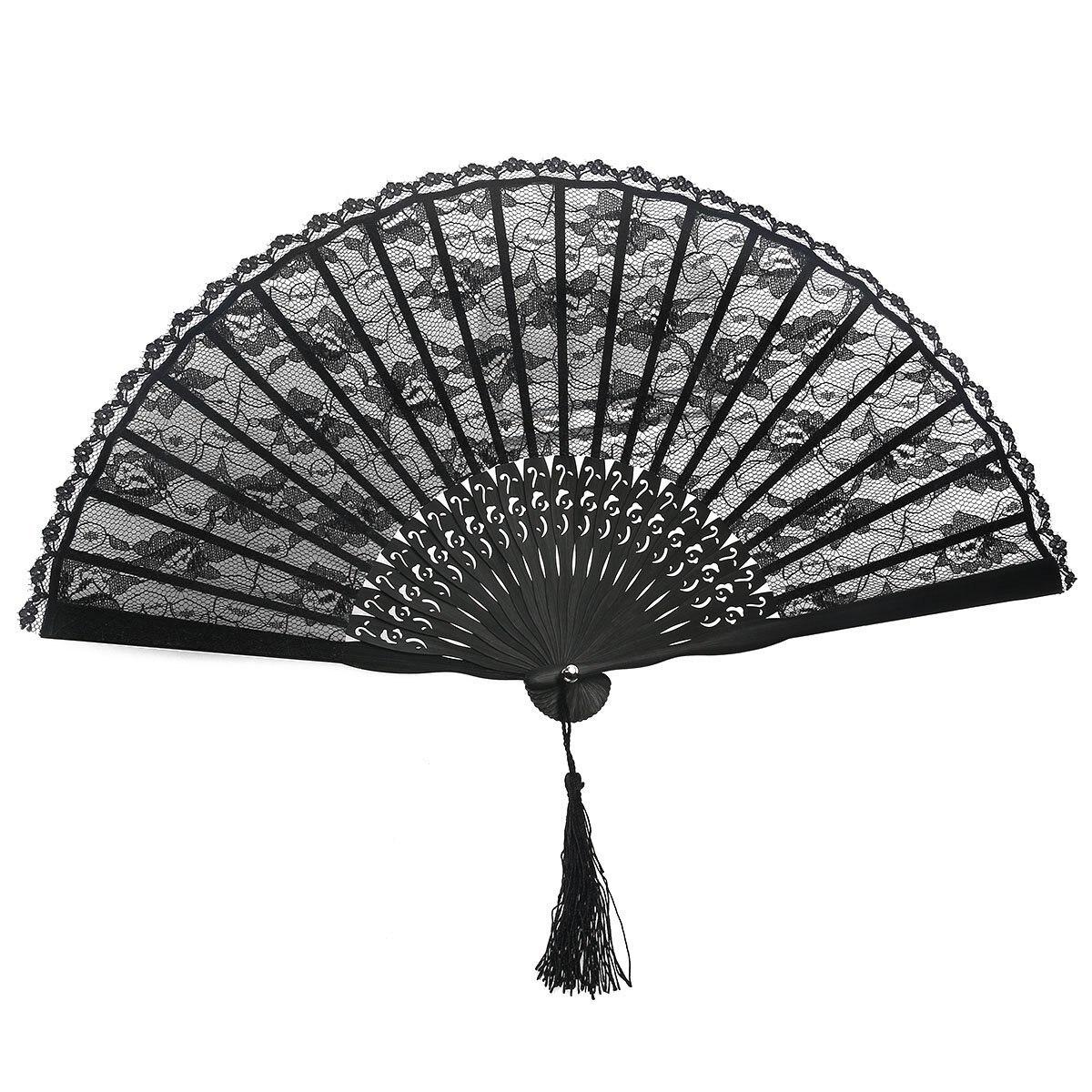 BLACK SPANISH LACE FAN RUMBA FLAMENCO ladies girls fancy dress accessory bulk