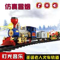 BP151271 Christmas Steam Train Classical Simulation Of Train Track Toys Smoking Lights Music Electric Toys