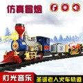 2016 Горячие Продажа Детские Игрушки Рождество паровоз классический моделирование поезд трек игрушки для огни музыка электрические игрушки