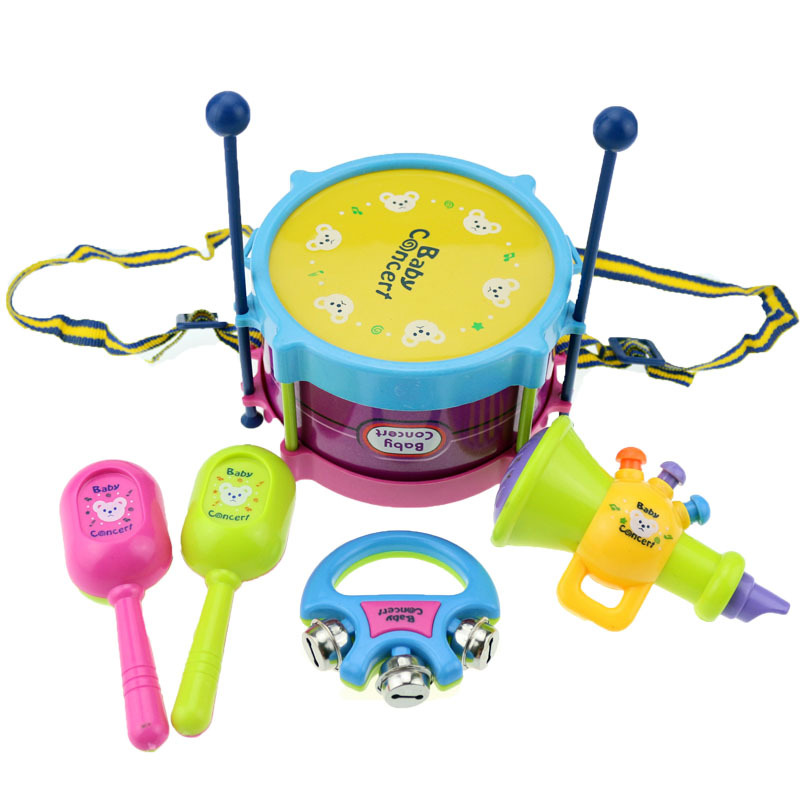 BOHS Baby Toy Drums & Percussion Musical Instruments Band Concerts Children Gift Set 5pcs Drum Trumpet Cabasa Handbell Kit