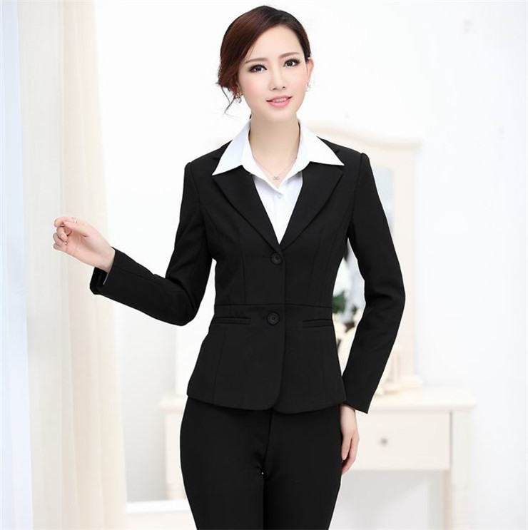 2017 New Women Suit With Pants Business Suits Formal Office Plus Size S Work Wear Pantsuits For Las Black In Pant From